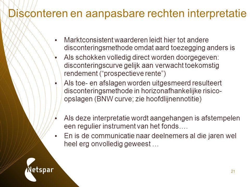 21 Disconteren en aanpasbare rechten interpretatie Marktconsistent waarderen leidt hier tot andere disconteringsmethode omdat aard toezegging anders i
