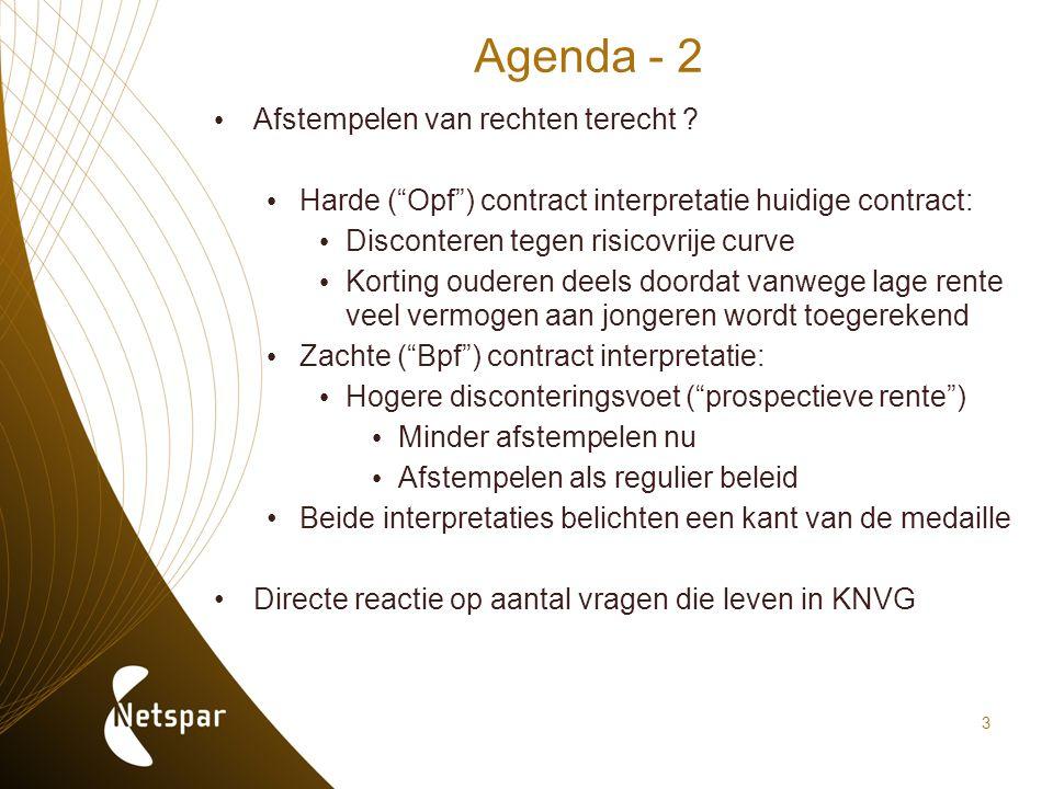 """3 Agenda - 2 Afstempelen van rechten terecht ? Harde (""""Opf"""") contract interpretatie huidige contract: Disconteren tegen risicovrije curve Korting oude"""