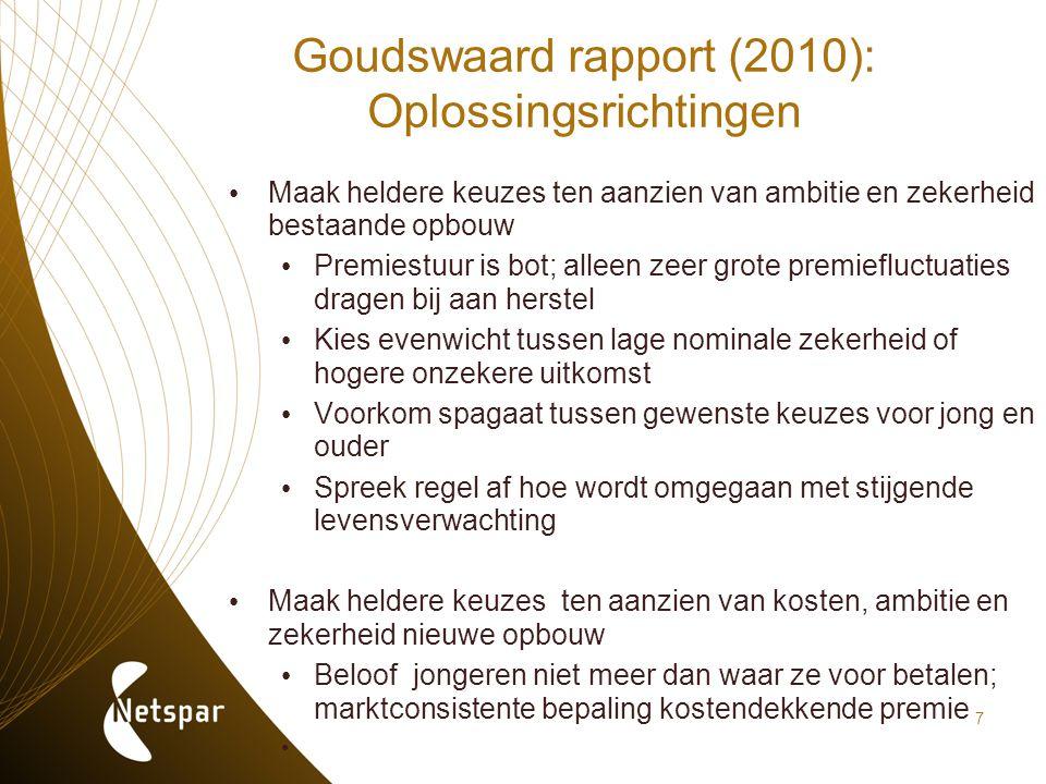 7 Goudswaard rapport (2010): Oplossingsrichtingen Maak heldere keuzes ten aanzien van ambitie en zekerheid bestaande opbouw Premiestuur is bot; alleen