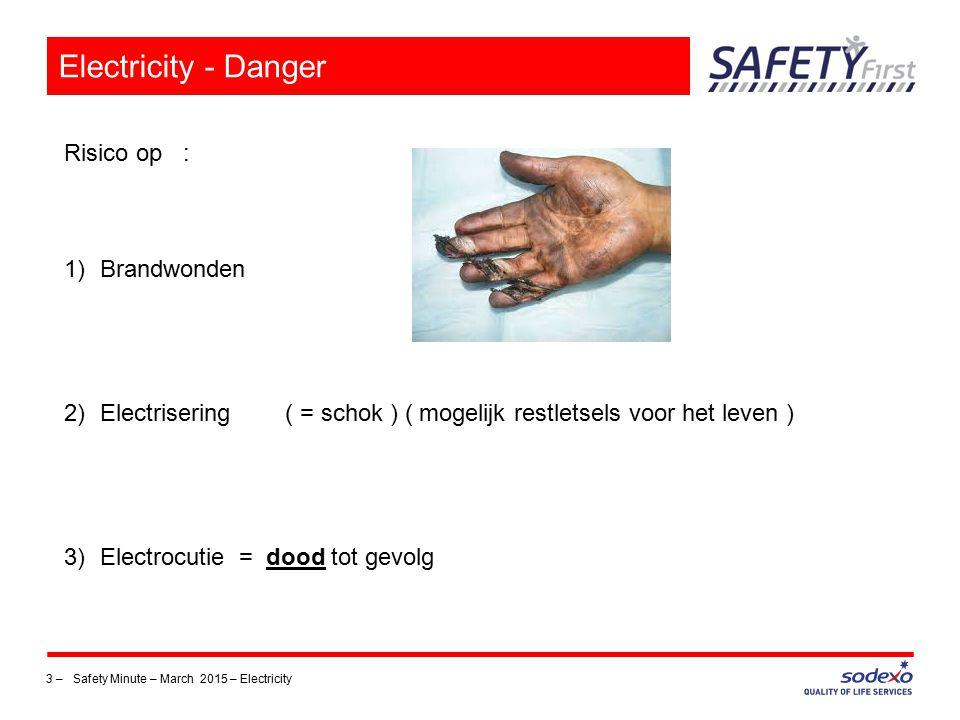 3 –Safety Minute – March 2015 – Electricity Electricity - Danger Risico op : 1)Brandwonden 2)Electrisering ( = schok ) ( mogelijk restletsels voor het leven ) 3)Electrocutie = dood tot gevolg