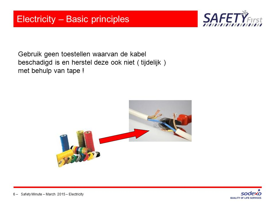 6 – Safety Minute – March 2015 – Electricity Electricity – Basic principles Gebruik geen toestellen waarvan de kabel beschadigd is en herstel deze ook niet ( tijdelijk ) met behulp van tape !