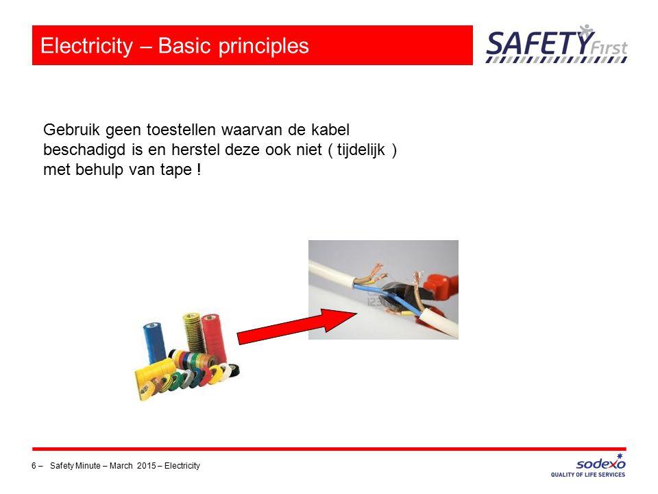 7 – Safety Minute – March 2015 – Electricity Electricity – Basic principles NIET WEL Met schakelaar