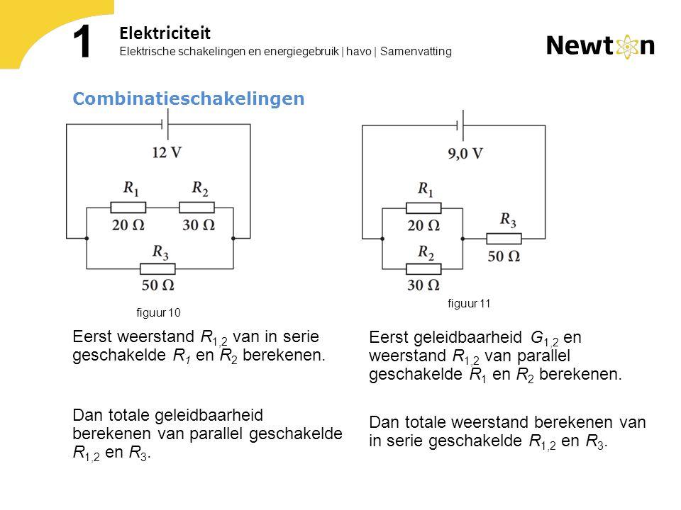 Elektrische schakelingen en energiegebruik | havo | Samenvatting 1 Elektriciteit Combinatieschakelingen Eerst weerstand R 1,2 van in serie geschakelde