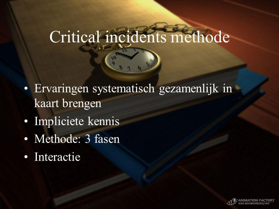 Critical incidents methode Ervaringen systematisch gezamenlijk in kaart brengen Impliciete kennis Methode: 3 fasen Interactie