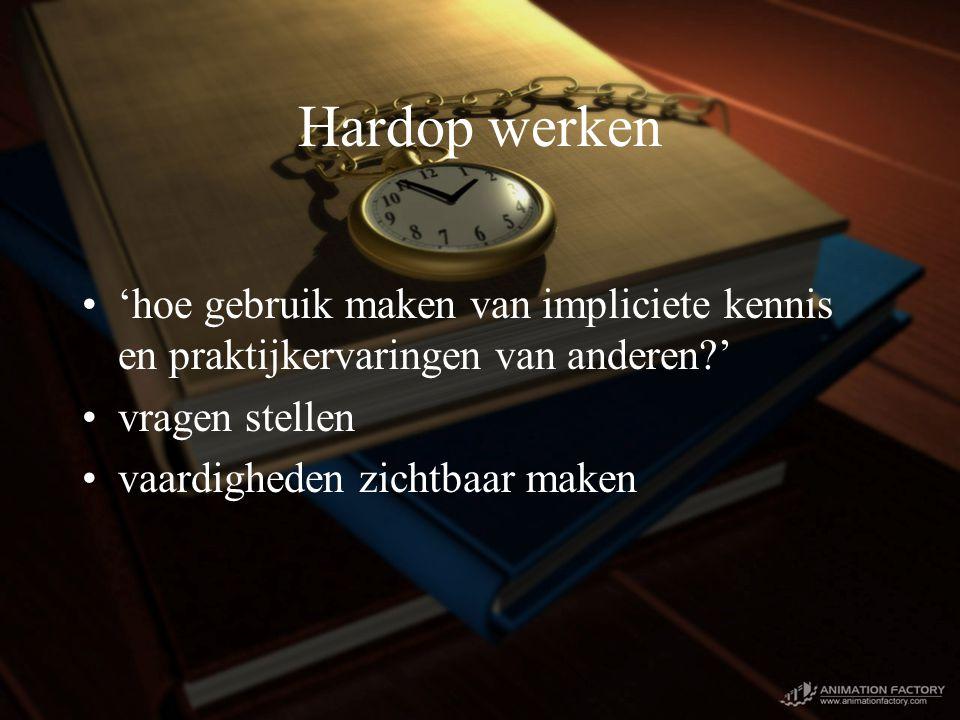Hardop werken 'hoe gebruik maken van impliciete kennis en praktijkervaringen van anderen ' vragen stellen vaardigheden zichtbaar maken
