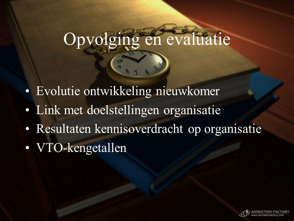 Opvolging en evaluatie Evolutie ontwikkeling nieuwkomer Link met doelstellingen organisatie Resultaten kennisoverdracht op organisatie VTO-kengetallen