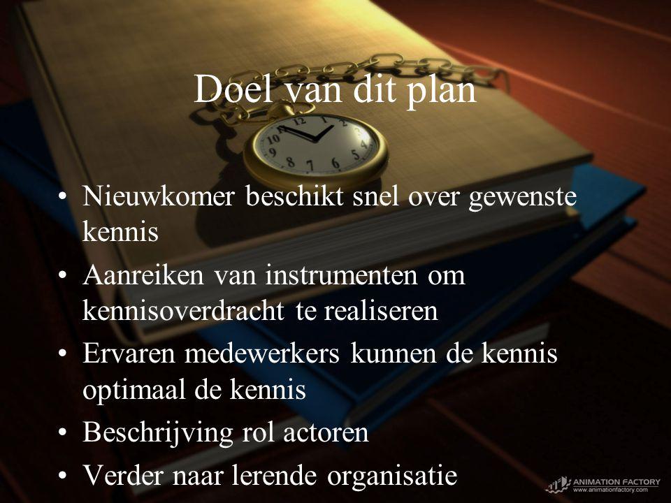 Doel van dit plan Nieuwkomer beschikt snel over gewenste kennis Aanreiken van instrumenten om kennisoverdracht te realiseren Ervaren medewerkers kunnen de kennis optimaal de kennis Beschrijving rol actoren Verder naar lerende organisatie