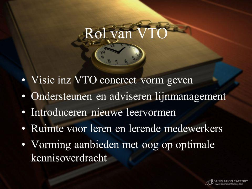 Rol van VTO Visie inz VTO concreet vorm geven Ondersteunen en adviseren lijnmanagement Introduceren nieuwe leervormen Ruimte voor leren en lerende medewerkers Vorming aanbieden met oog op optimale kennisoverdracht