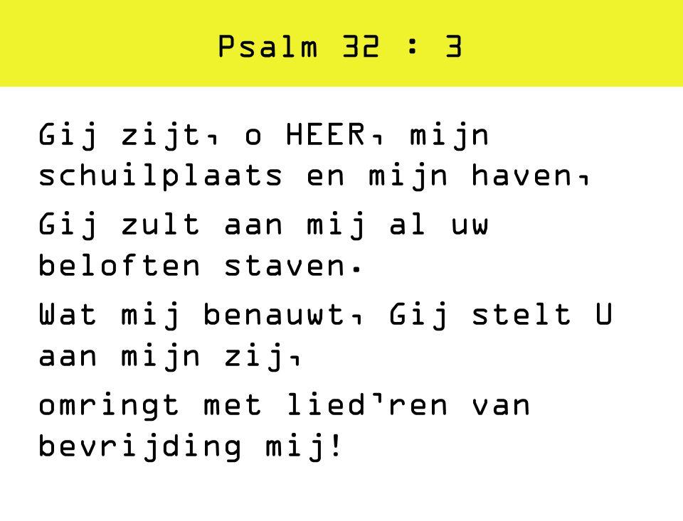 Psalm 32 : 3 Gij zijt, o HEER, mijn schuilplaats en mijn haven, Gij zult aan mij al uw beloften staven. Wat mij benauwt, Gij stelt U aan mijn zij, omr