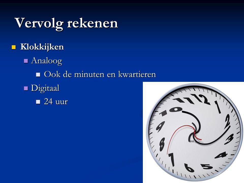 Vervolg rekenen Klokkijken Klokkijken Analoog Analoog Ook de minuten en kwartieren Ook de minuten en kwartieren Digitaal Digitaal 24 uur 24 uur