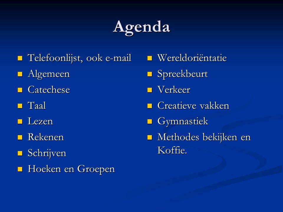 Agenda Telefoonlijst, ook e-mail Telefoonlijst, ook e-mail Algemeen Algemeen Catechese Catechese Taal Taal Lezen Lezen Rekenen Rekenen Schrijven Schri