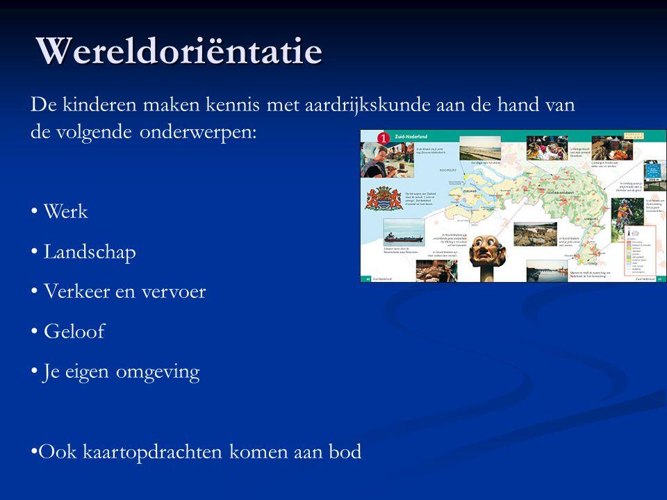 Wereldoriëntatie De kinderen maken kennis met aardrijkskunde aan de hand van de volgende onderwerpen: Werk Landschap Verkeer en vervoer Geloof Je eige