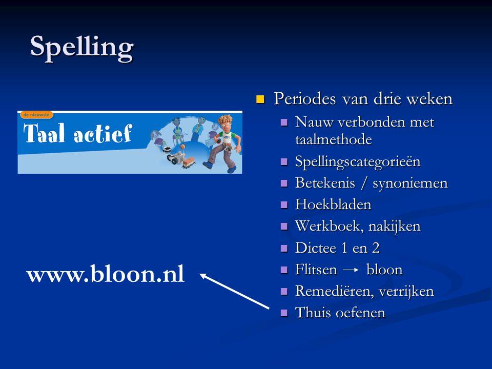 Spelling Periodes van drie weken Nauw verbonden met taalmethode Spellingscategorieën Betekenis / synoniemen Hoekbladen Werkboek, nakijken Dictee 1 en