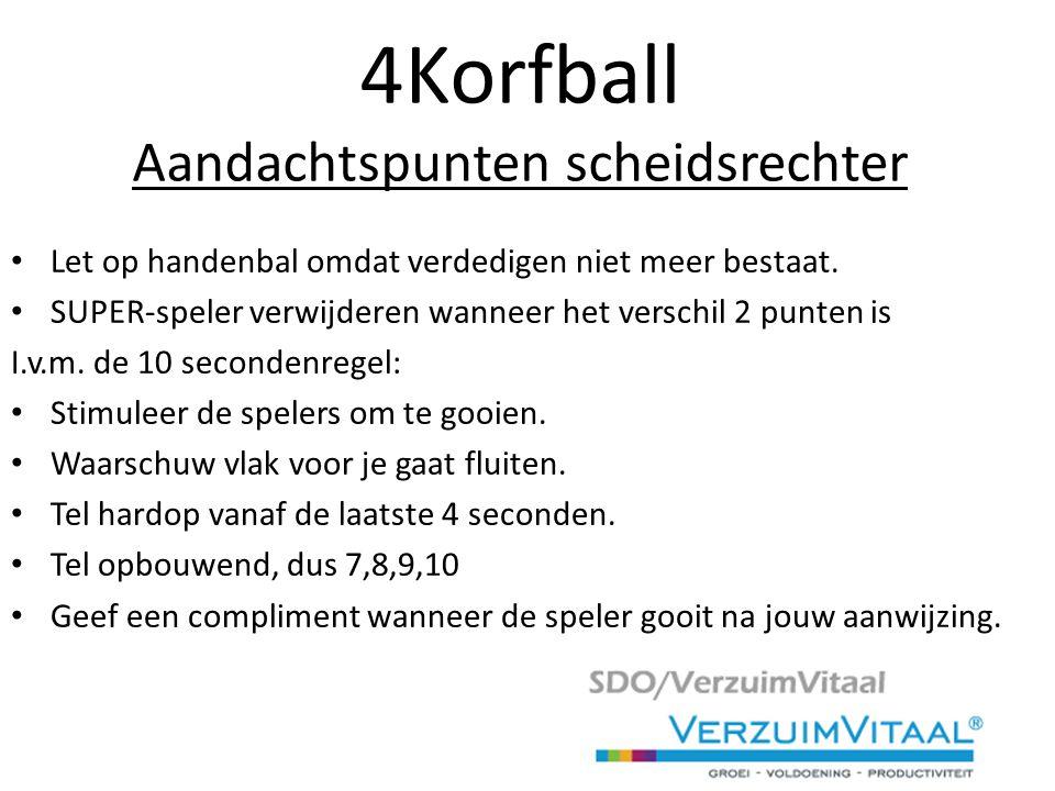 4Korfball Aandachtspunten scheidsrechter Let op handenbal omdat verdedigen niet meer bestaat.