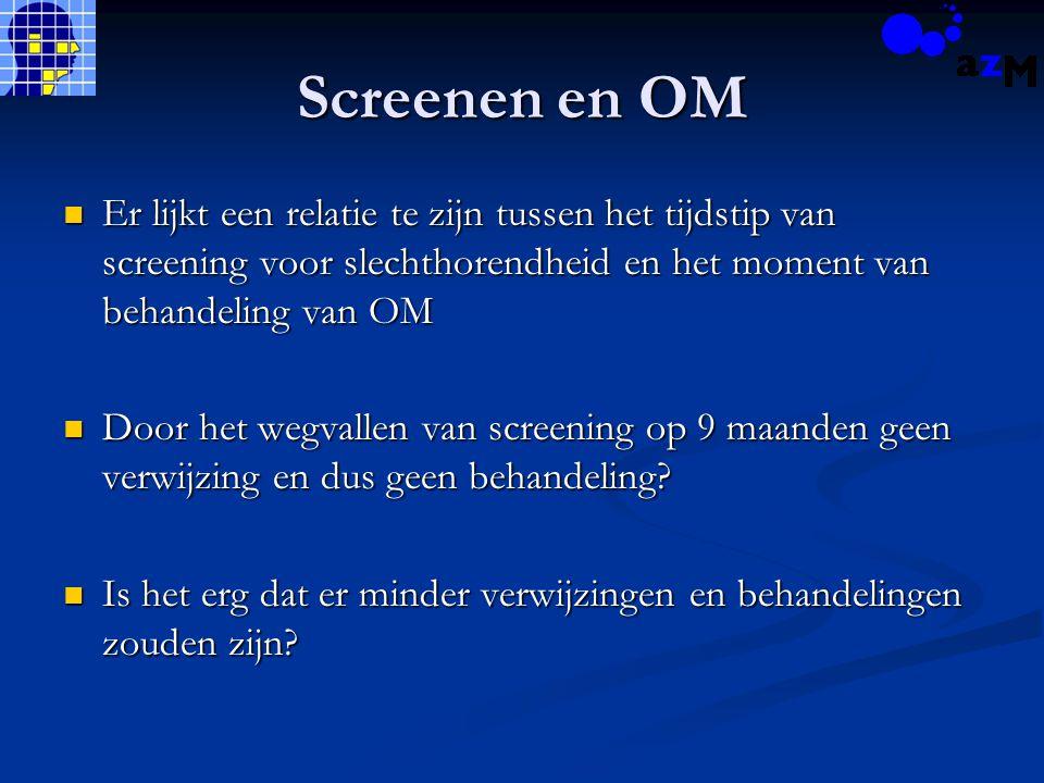 Screenen en OM Er lijkt een relatie te zijn tussen het tijdstip van screening voor slechthorendheid en het moment van behandeling van OM Er lijkt een
