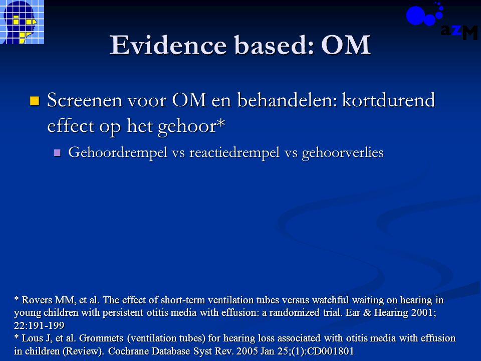 Evidence based: OM Screenen voor OM en behandelen: kortdurend effect op het gehoor* Screenen voor OM en behandelen: kortdurend effect op het gehoor* G
