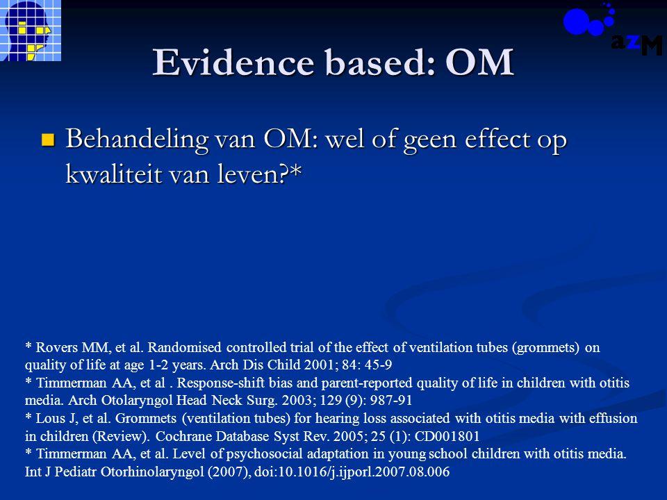 Evidence based: OM Behandeling van OM: wel of geen effect op kwaliteit van leven * Behandeling van OM: wel of geen effect op kwaliteit van leven * * Rovers MM, et al.