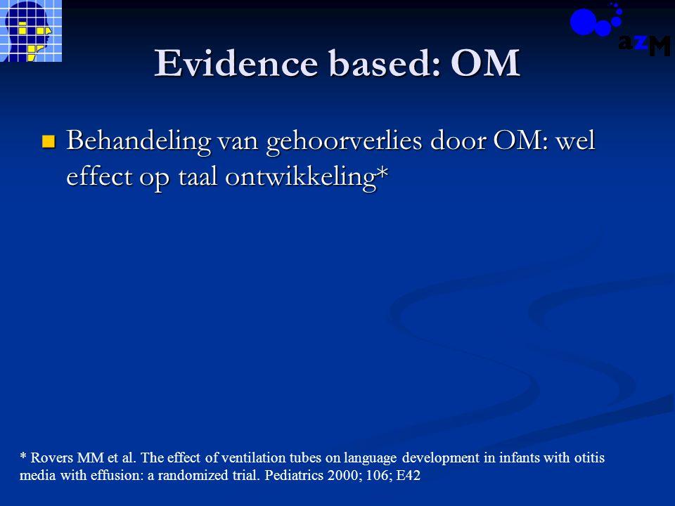 Evidence based: OM Behandeling van gehoorverlies door OM: wel effect op taal ontwikkeling* Behandeling van gehoorverlies door OM: wel effect op taal ontwikkeling* * Rovers MM et al.