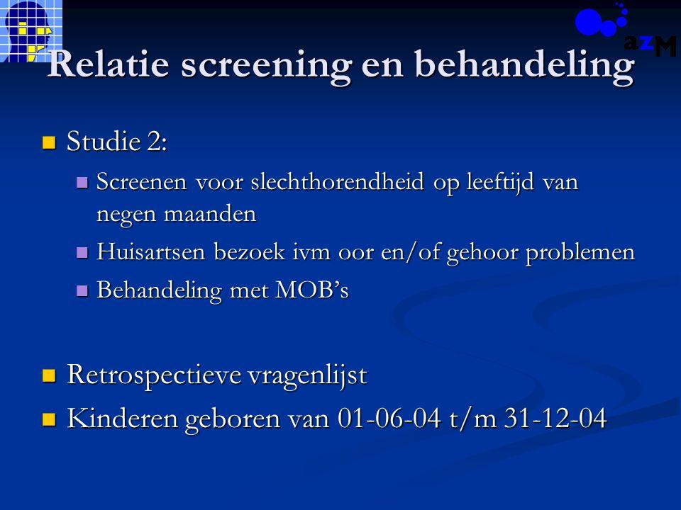 Relatie screening en behandeling Studie 2: Studie 2: Screenen voor slechthorendheid op leeftijd van negen maanden Screenen voor slechthorendheid op le