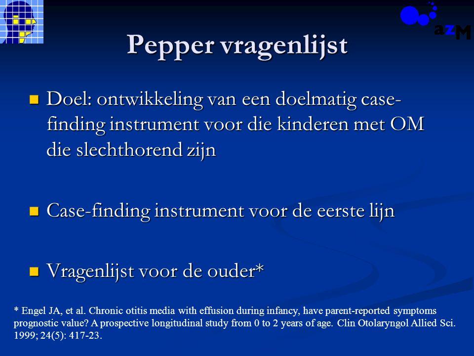 Pepper vragenlijst Doel: ontwikkeling van een doelmatig case- finding instrument voor die kinderen met OM die slechthorend zijn Doel: ontwikkeling van