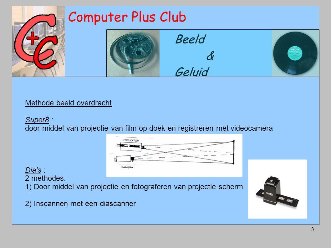 3 Computer Plus Club Beeld & Geluid Methode beeld overdracht Super8 : door middel van projectie van film op doek en registreren met videocamera Dia s : 2 methodes: 1) Door middel van projectie en fotograferen van projectie scherm 2) Inscannen met een diascanner