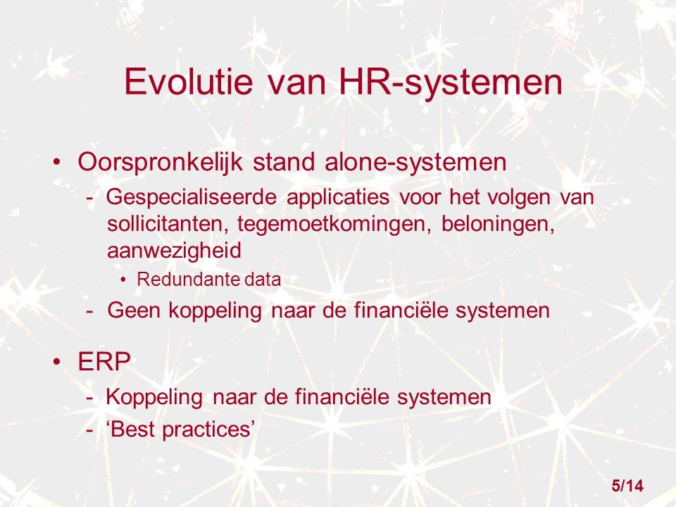 Evolutie van HR-systemen Oorspronkelijk stand alone-systemen - Gespecialiseerde applicaties voor het volgen van sollicitanten, tegemoetkomingen, beloningen, aanwezigheid Redundante data -Geen koppeling naar de financiële systemen ERP - Koppeling naar de financiële systemen - 'Best practices' 5/14