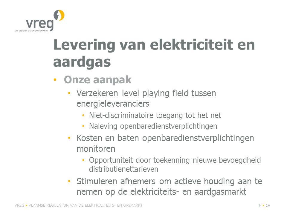 Levering van elektriciteit en aardgas Onze aanpak Verzekeren level playing field tussen energieleveranciers Niet-discriminatoire toegang tot het net Naleving openbaredienstverplichtingen Kosten en baten openbaredienstverplichtingen monitoren Opportuniteit door toekenning nieuwe bevoegdheid distributienettarieven Stimuleren afnemers om actieve houding aan te nemen op de elektriciteits- en aardgasmarkt VREG VLAAMSE REGULATOR VAN DE ELEKTRICITEITS- EN GASMARKTP 14