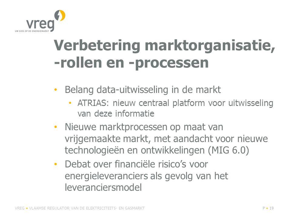 Verbetering marktorganisatie, -rollen en -processen Belang data-uitwisseling in de markt ATRIAS: nieuw centraal platform voor uitwisseling van deze informatie Nieuwe marktprocessen op maat van vrijgemaakte markt, met aandacht voor nieuwe technologieën en ontwikkelingen (MIG 6.0) Debat over financiële risico's voor energieleveranciers als gevolg van het leveranciersmodel VREG VLAAMSE REGULATOR VAN DE ELEKTRICITEITS- EN GASMARKTP 19