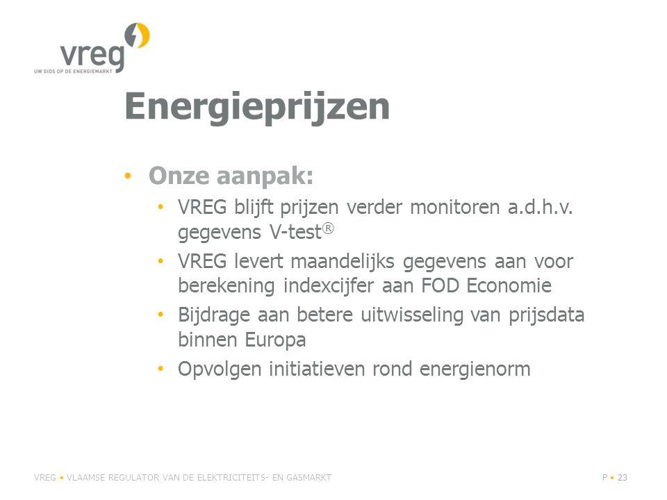 Energieprijzen Onze aanpak: VREG blijft prijzen verder monitoren a.d.h.v.