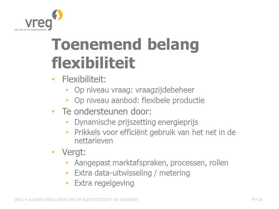 Toenemend belang flexibiliteit Flexibiliteit: Op niveau vraag: vraagzijdebeheer Op niveau aanbod: flexibele productie Te ondersteunen door: Dynamische prijszetting energieprijs Prikkels voor efficiënt gebruik van het net in de nettarieven Vergt: Aangepast marktafspraken, processen, rollen Extra data-uitwisseling / metering Extra regelgeving VREG VLAAMSE REGULATOR VAN DE ELEKTRICITEITS- EN GASMARKTP 31