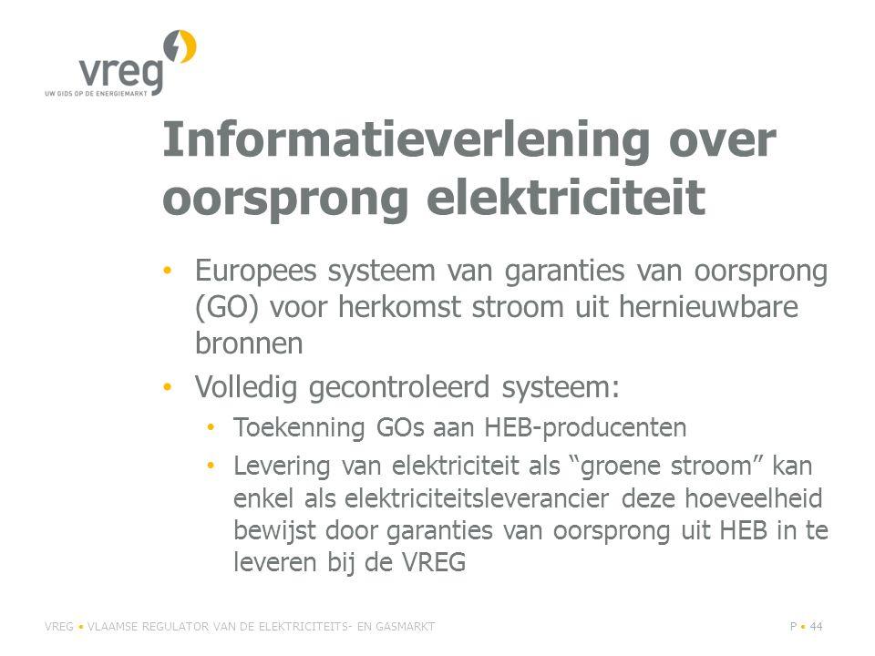 Informatieverlening over oorsprong elektriciteit Europees systeem van garanties van oorsprong (GO) voor herkomst stroom uit hernieuwbare bronnen Volledig gecontroleerd systeem: Toekenning GOs aan HEB-producenten Levering van elektriciteit als groene stroom kan enkel als elektriciteitsleverancier deze hoeveelheid bewijst door garanties van oorsprong uit HEB in te leveren bij de VREG VREG VLAAMSE REGULATOR VAN DE ELEKTRICITEITS- EN GASMARKTP 44