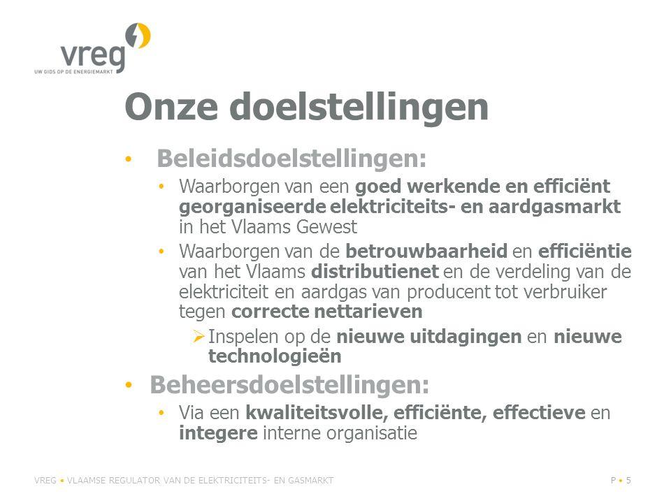 Onze doelstellingen Beleidsdoelstellingen: Waarborgen van een goed werkende en efficiënt georganiseerde elektriciteits- en aardgasmarkt in het Vlaams Gewest Waarborgen van de betrouwbaarheid en efficiëntie van het Vlaams distributienet en de verdeling van de elektriciteit en aardgas van producent tot verbruiker tegen correcte nettarieven  Inspelen op de nieuwe uitdagingen en nieuwe technologieën Beheersdoelstellingen: Via een kwaliteitsvolle, efficiënte, effectieve en integere interne organisatie VREG VLAAMSE REGULATOR VAN DE ELEKTRICITEITS- EN GASMARKTP 5
