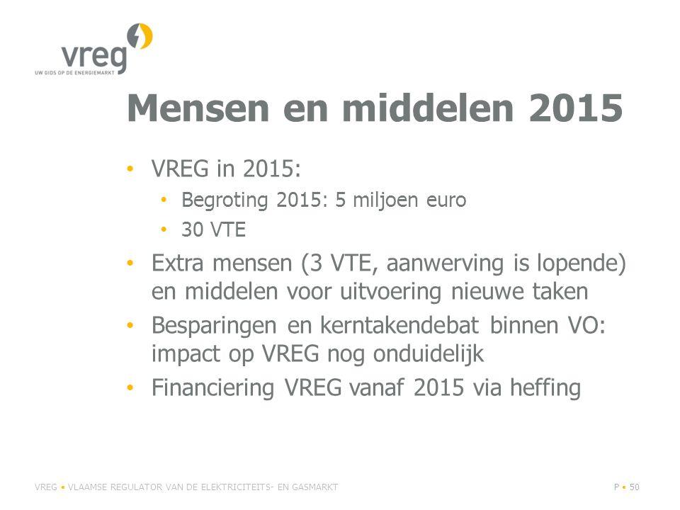 Mensen en middelen 2015 VREG in 2015: Begroting 2015: 5 miljoen euro 30 VTE Extra mensen (3 VTE, aanwerving is lopende) en middelen voor uitvoering nieuwe taken Besparingen en kerntakendebat binnen VO: impact op VREG nog onduidelijk Financiering VREG vanaf 2015 via heffing VREG VLAAMSE REGULATOR VAN DE ELEKTRICITEITS- EN GASMARKTP 50