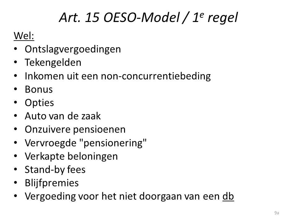 Art. 15 OESO-Model / 1 e regel Wel: Ontslagvergoedingen Tekengelden Inkomen uit een non-concurrentiebeding Bonus Opties Auto van de zaak Onzuivere pen