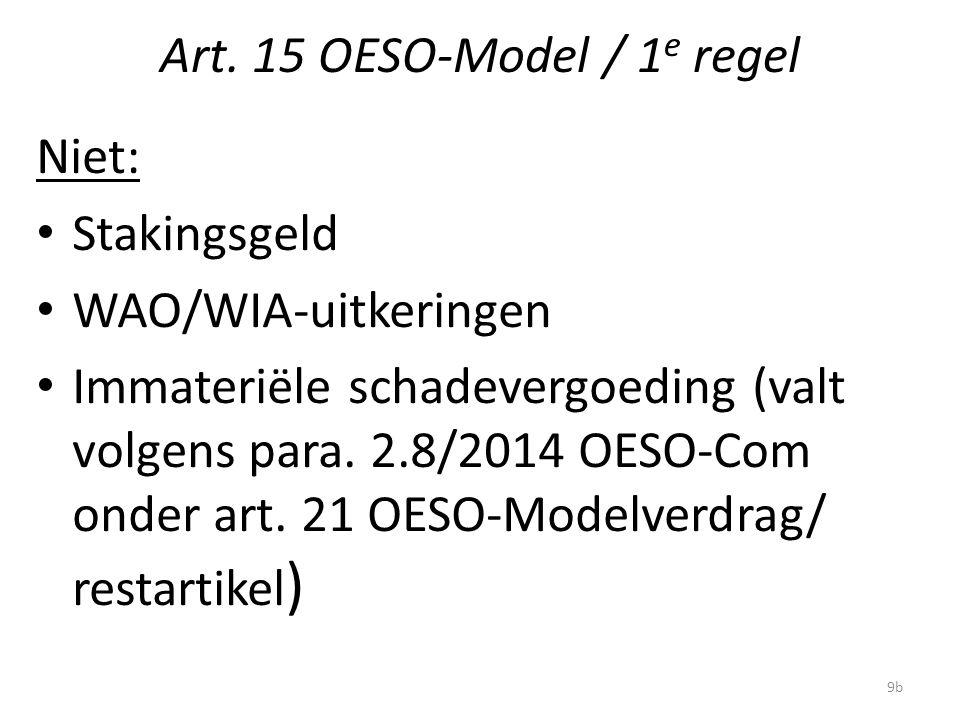 Art. 15 OESO-Model / 1 e regel Niet: Stakingsgeld WAO/WIA-uitkeringen Immateriële schadevergoeding (valt volgens para. 2.8/2014 OESO-Com onder art. 21