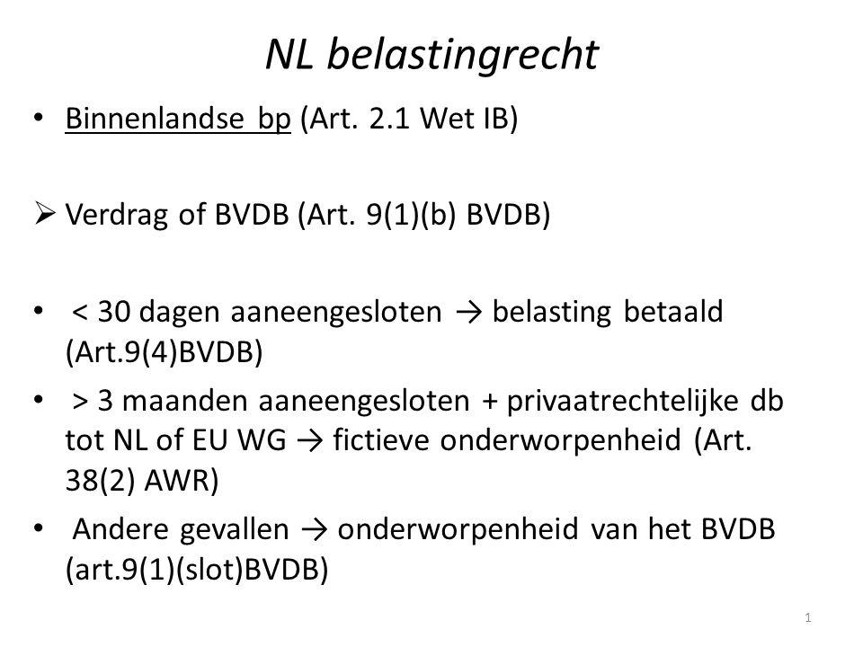 NL belastingrecht Binnenlandse bp (Art. 2.1 Wet IB)  Verdrag of BVDB (Art. 9(1)(b) BVDB) < 30 dagen aaneengesloten → belasting betaald (Art.9(4)BVDB)