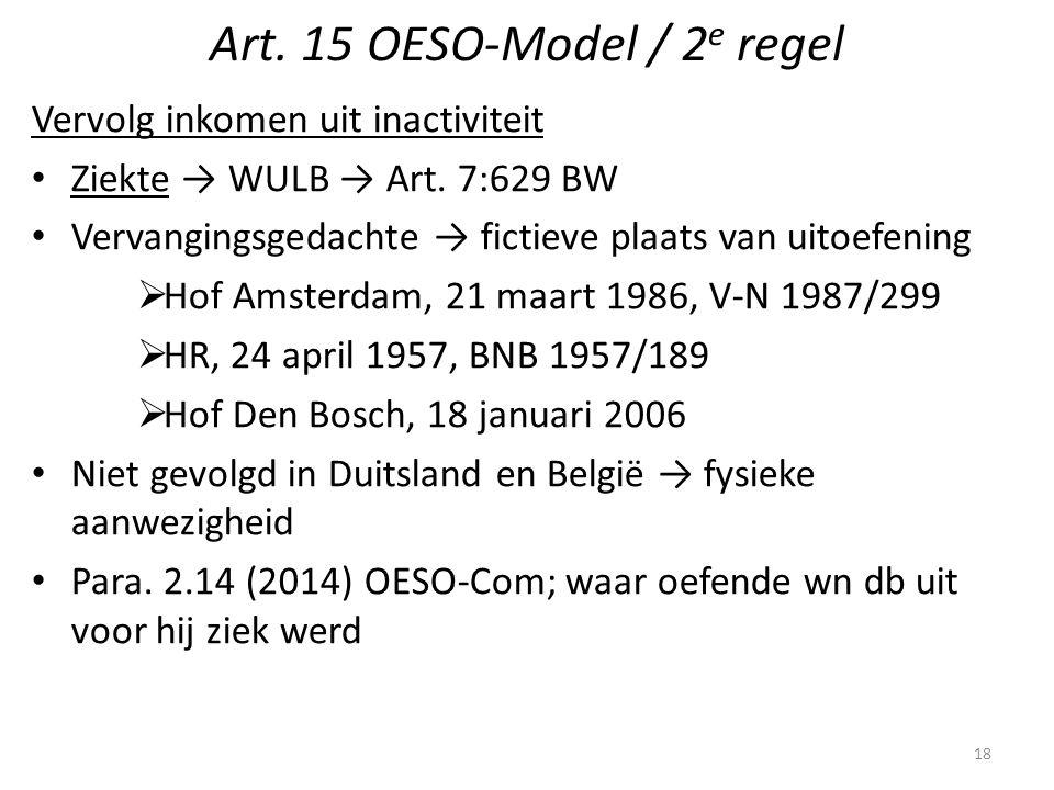 Art. 15 OESO-Model / 2 e regel Vervolg inkomen uit inactiviteit Ziekte → WULB → Art. 7:629 BW Vervangingsgedachte → fictieve plaats van uitoefening 
