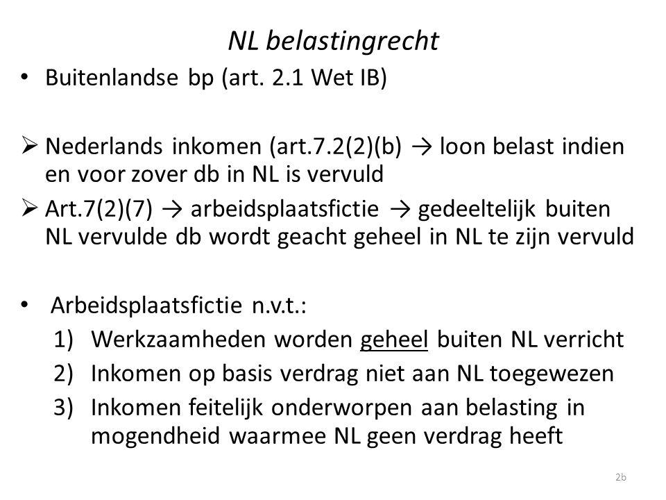 NL belastingrecht Buitenlandse bp (art. 2.1 Wet IB)  Nederlands inkomen (art.7.2(2)(b) → loon belast indien en voor zover db in NL is vervuld  Art.7