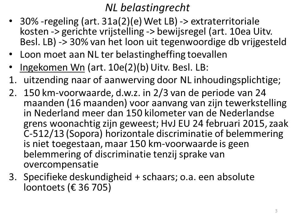 NL belastingrecht 30% -regeling (art. 31a(2)(e) Wet LB) -> extraterritoriale kosten -> gerichte vrijstelling -> bewijsregel (art. 10ea Uitv. Besl. LB)