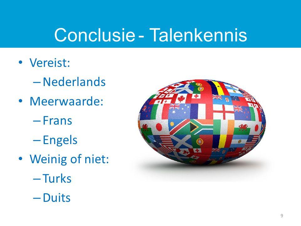 Vereist: – Nederlands Meerwaarde: – Frans – Engels Weinig of niet: – Turks – Duits 9 Conclusie - Talenkennis