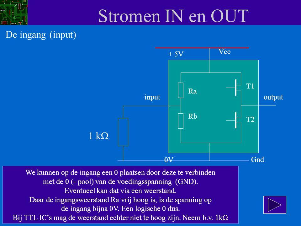 Stromen IN en OUT Vcc input Ra Rb T1 T2 Gnd output + 5V 0V We kunnen op de ingang een 0 plaatsen door deze te verbinden met de 0 (- pool) van de voedi