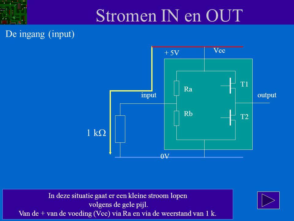 Stromen IN en OUT In deze situatie gaat er een kleine stroom lopen volgens de gele pijl. Van de + van de voeding (Vcc) via Ra en via de weerstand van