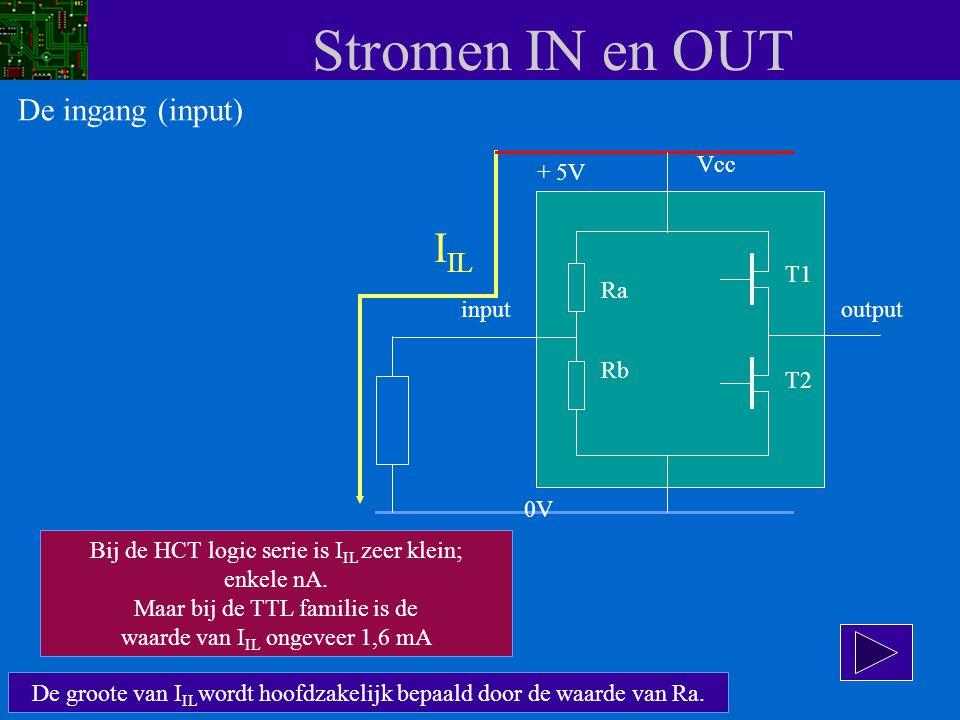 Stromen IN en OUT De groote van I IL wordt hoofdzakelijk bepaald door de waarde van Ra. Bij de HCT logic serie is I IL zeer klein; enkele nA. Maar bij
