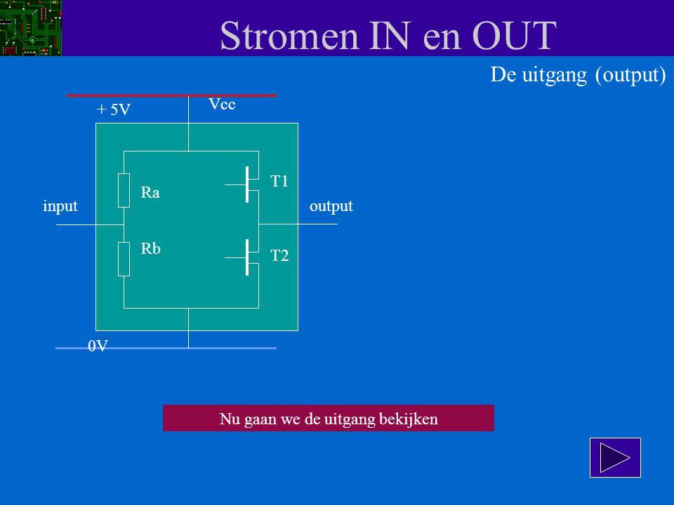 Stromen IN en OUT Vcc input Ra Rb T1 T2 output + 5V 0V De uitgang (output) Nu gaan we de uitgang bekijken