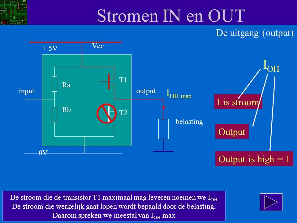 Stromen IN en OUT De stroom die de transistor T1 maximaal mag leveren noemen we I OH De stroom die werkelijk gaat lopen wordt bepaald door de belastin