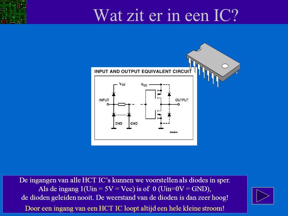 Wat zit er in een IC? De ingangen van alle HCT IC's kunnen we voorstellen als diodes in sper. Als de ingang 1(Uin = 5V = Vcc) is of 0 (Uin=0V = GND),