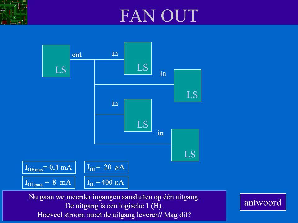 FAN OUT Nu gaan we meerder ingangen aansluiten op één uitgang. De uitgang is een logische 1 (H). Hoeveel stroom moet de uitgang leveren? Mag dit? out
