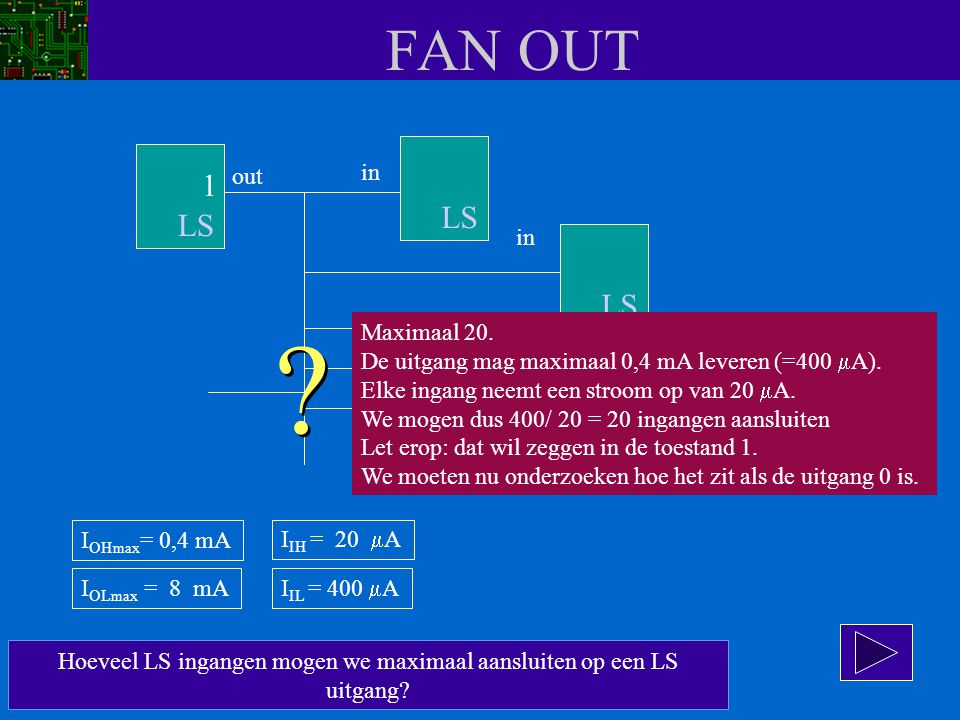 FAN OUT Hoeveel LS ingangen mogen we maximaal aansluiten op een LS uitgang? out in LS ? ? Maximaal 20. De uitgang mag maximaal 0,4 mA leveren (=400 