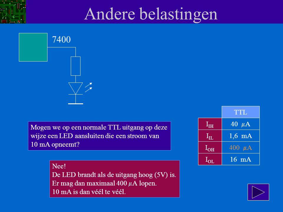 Andere belastingen I IH I IL I OH I OL 40  A 1,6 mA 400  A 16 mA TTL 7400 Mogen we op een normale TTL uitgang op deze wijze een LED aansluiten die e