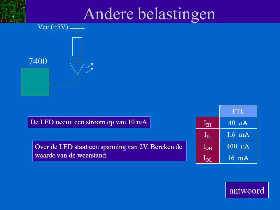 Andere belastingen I IH I IL I OH I OL 40  A 1,6 mA 400  A 16 mA TTL 7400 De LED neemt een stroom op van 10 mA Vcc (+5V) Over de LED staat een spann